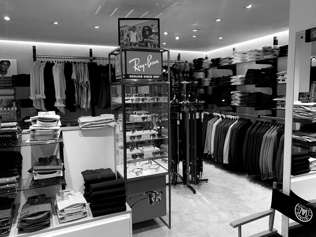 Nigel Holmes Designer Menswear - Store Photo B&W Ray Bans